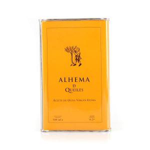 Alhema de Queiles, ecológico. Aceite de oliva coupage, lata de 500 ml