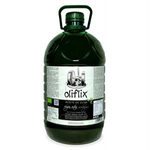 Oliflix. Aceite de oliva arbequina ecológico, Caja de 4 garrafas de 5 L