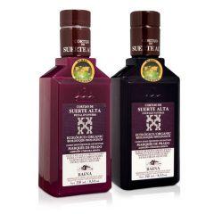 Cortijo de Suerte Alta, ecológico. Aceite de oliva. Caja mixta de 16 botellas ( 8 picual + 8 coupage natural) de 250 ml